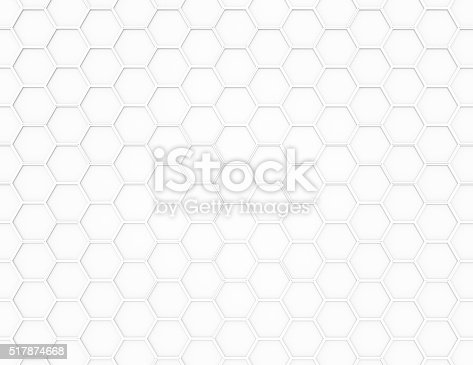 istock Abstract white 3D render hexagonal geometric structure background 517874668