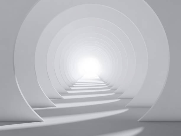 Abstract white 3d round tunnel interior stock photo
