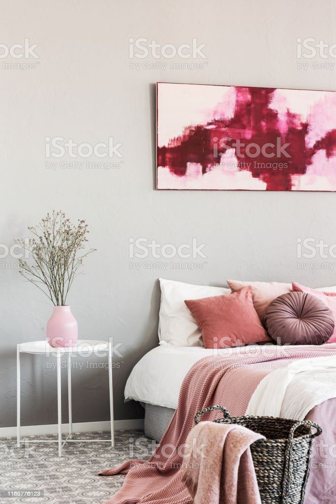 Abstract White And Burgundy Painting On The Wall Of Stylish Bedroom Interior With King Size Bed Stock Photo Download Image Now Istock