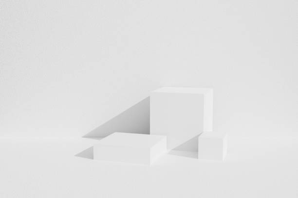 Abstract white background texture with geometric shape in studio room. 3D rendering for product on website. Minimal mockup with gray display podium scene. Empty showcase for advertising banner. stock photo