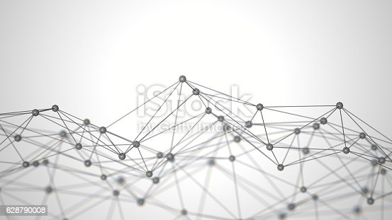 istock Abstract white background with connecting dots 628790008