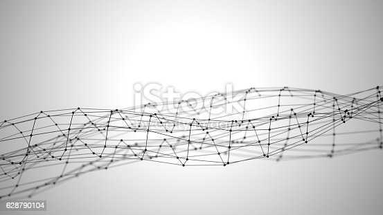 istock Abstract white background with connecting dots 628790104