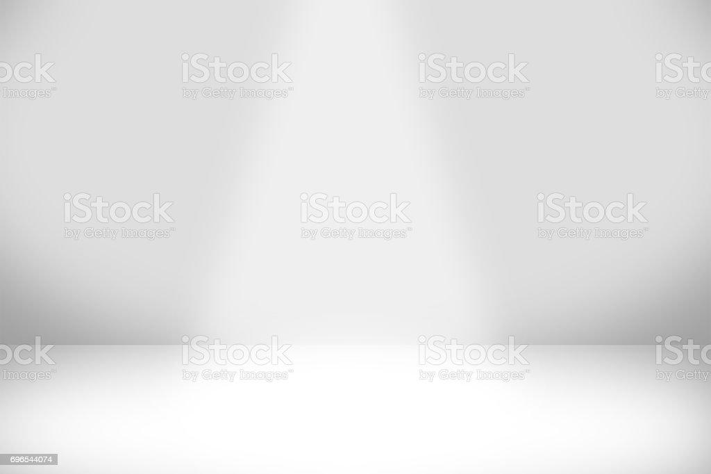 抽象的聚光燈和光效果與灰色陰影的白色背景: 空光內政與創意工作室背景專案的副本空間。圖像檔