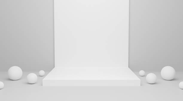 Abstract white blank empty podium on wall background texture with geometric shape for presentation and exposition. 3d rendering design. Pedestal for display product. 3d exhibition stand. stock photo