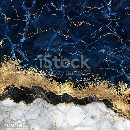 abstract white blue marble background with golden veins, fake stone texture, liquid paint, gold foil and glitter decor, painted artificial marbled surface, fashion marbling illustration