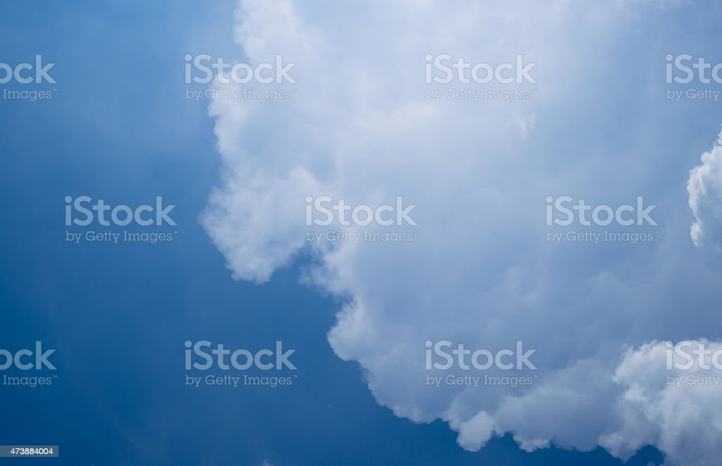 Abstract White clouds on a blue sky background stock photo