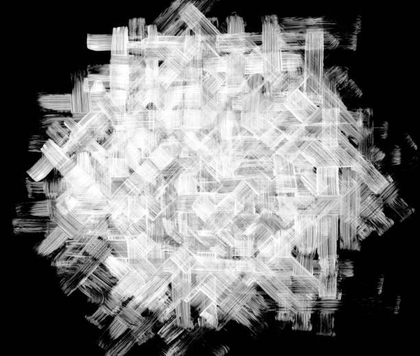 abstrakte weißen komposition auf schwarzem papierhintergrund mit sichtbar vielschichtigen linien und unvollendete spontane pinsel bewegungen - gewebe-design-konzept - kariertes hintergrundsbild stock-fotos und bilder