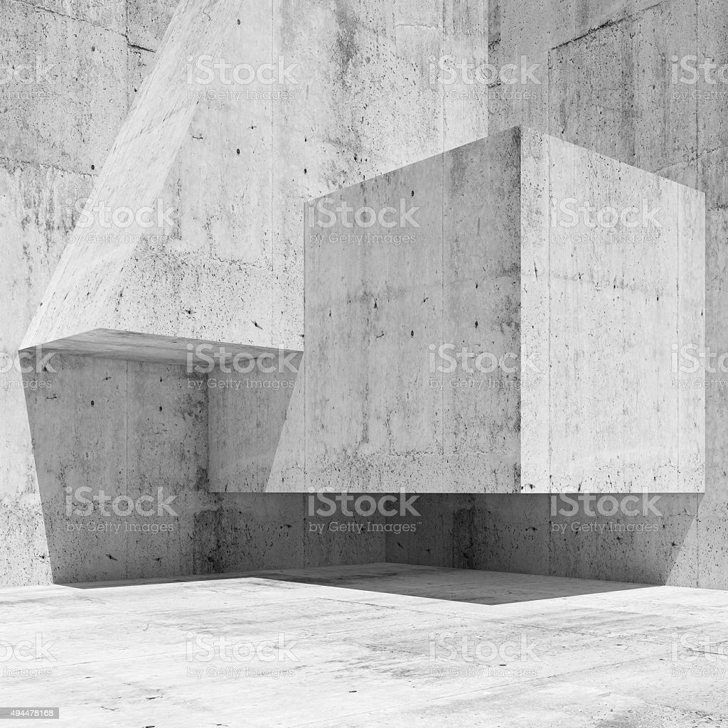 Abstrakter weißer Beton innen führen zu einer Fragmentierung 3 d – Foto