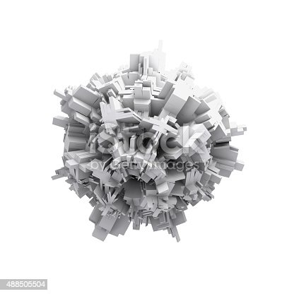 istock Abstract white digital 3d spheric object isolated 488505504