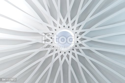 istock Abstract white dome with center hole and symmetrical structure 541117872