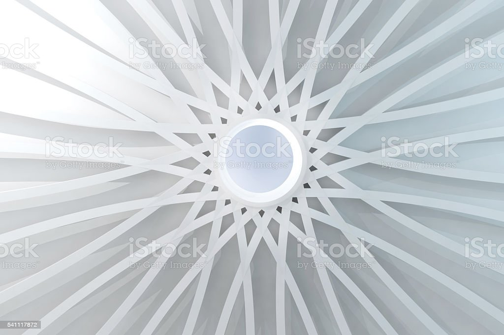 Abstract white dome with center hole and symmetrical structure stock photo