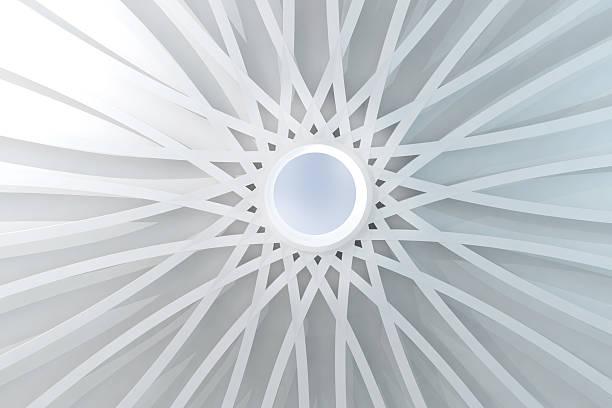 cúpula blanca resumen con orificio pasante y simétrico de la estructura - característica arquitectónica fotografías e imágenes de stock