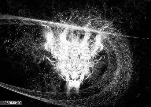 Abstract white dragon swirling in the dark