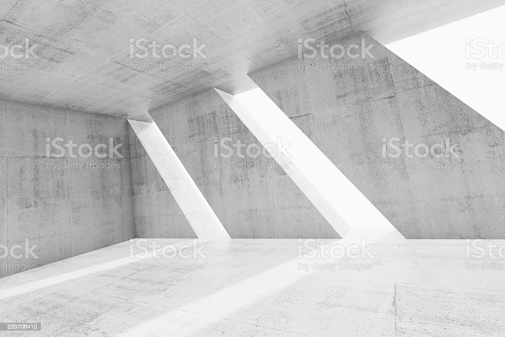 Abstract white empty concrete room interior stock photo