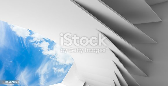 istock Abstract white empty interior 3 d render 913645060