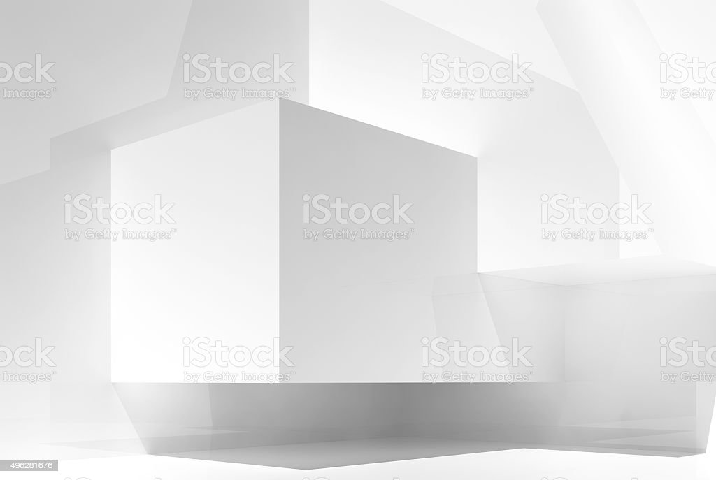 Abstract white empty interior background 3d stock photo
