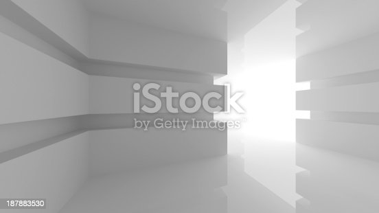 Abstract white empty room interior with glowing doorway. 3d render illustration