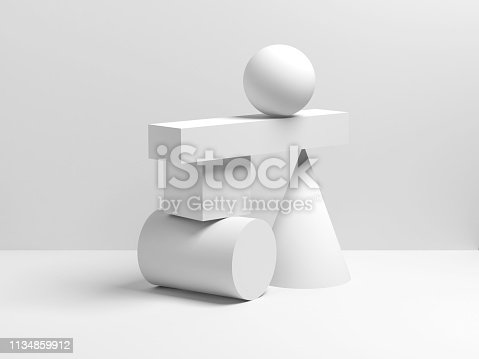 950775710 istock photo Abstract white equilibrium still life installation 1134859912