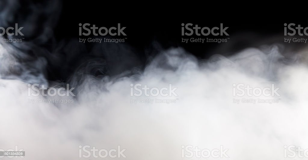 Abstract white fog or smoke move on black color background stock photo