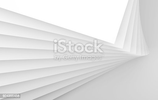istock Abstract white interior, geometric installation 924355458
