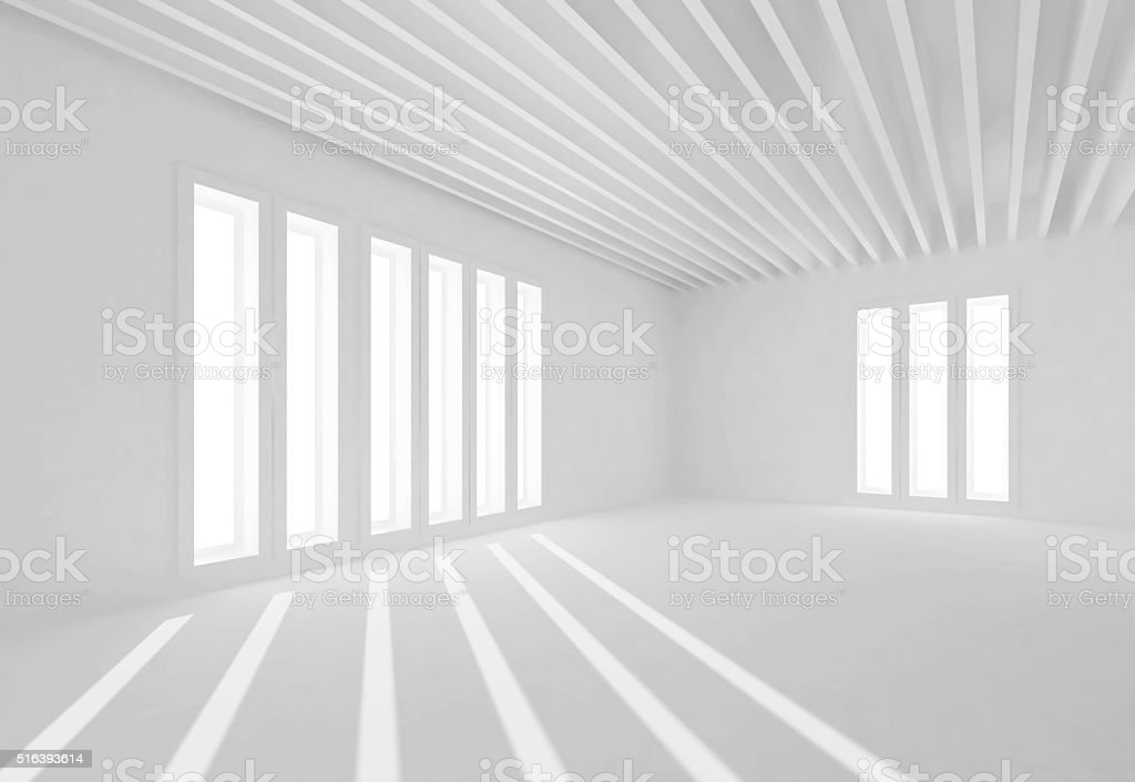 Abstract white interior, windows and sun beams stock photo