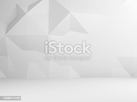istock Abstract white interior with low poly decor 1058014100