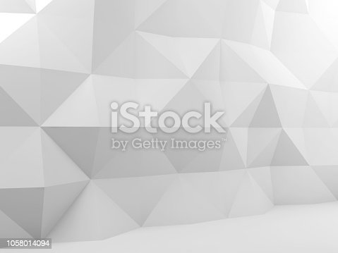 istock Abstract white interior with low poly pattern 1058014094