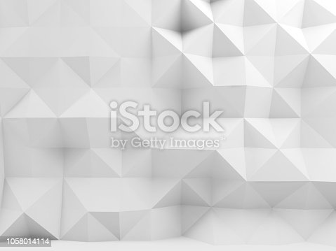 istock Abstract white interior with polygonal pattern 1058014114