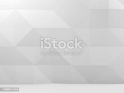 istock Abstract white interior with polygonal pattern 1058014154
