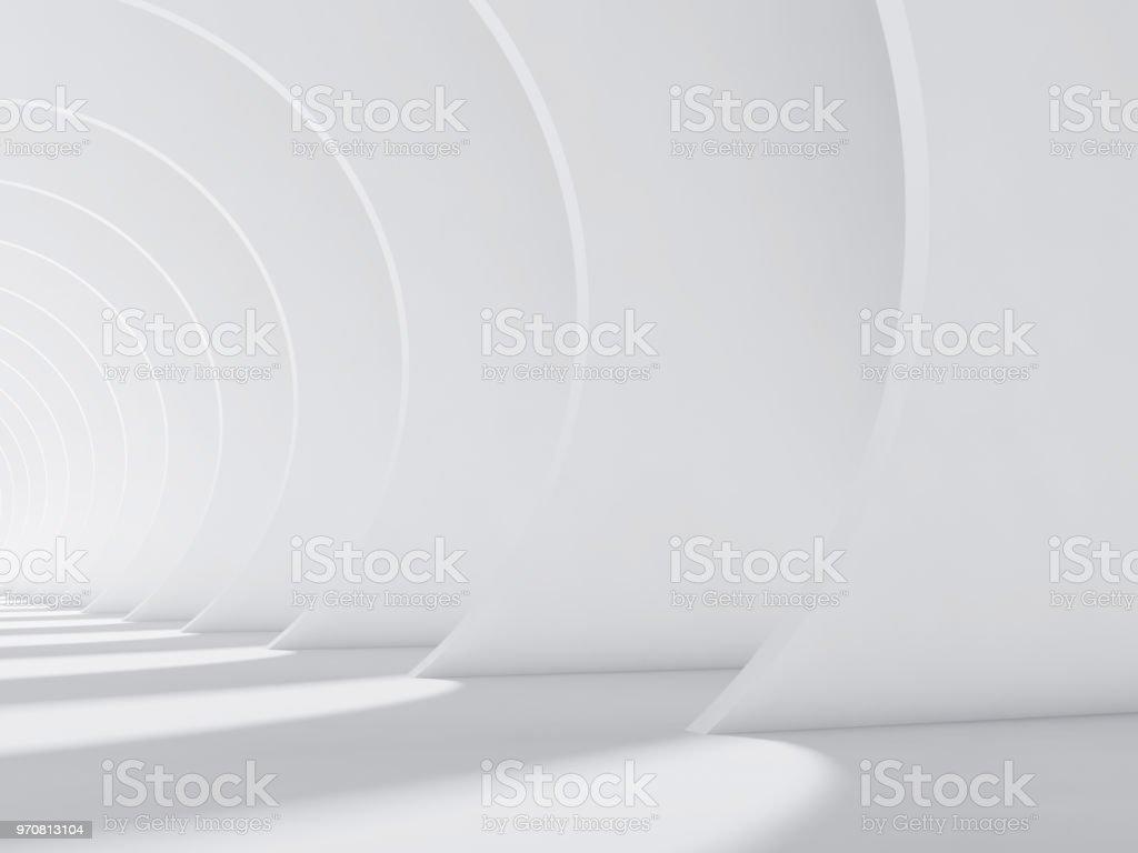 Abstrakt weiß innen mit Runde Wände 3d – Foto