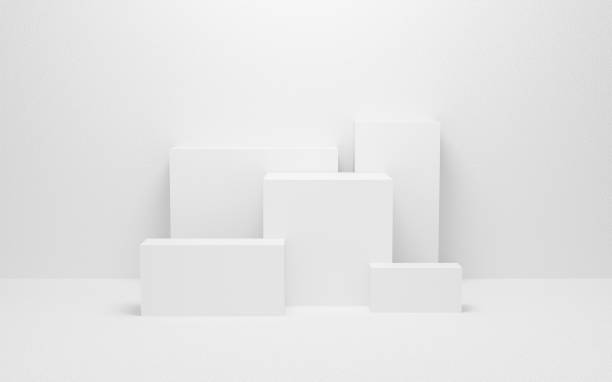 abstract white light on wall background texture with geometric shape. 3d render design for display product on website. Mockup with gray podium scene concept. Empty showcase for advertising and banner. stock photo