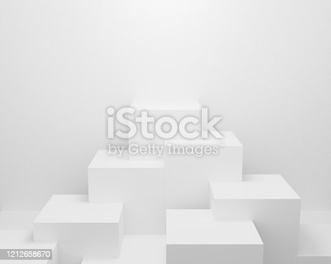 istock abstract white light on wall background texture with geometric shape. 3d render design for display product on website. Mockup with gray podium scene concept. Empty showcase for advertising and banner. 1212658670