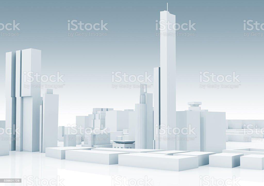 Abstract white modern cityscape skyline 3 d stok fotoğrafı