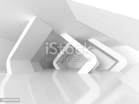 istock Abstract White Modern Interior Design Background. Futuristic Arc 588390568