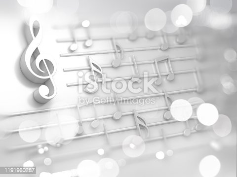 istock Abstract white music background, musical notes and symbols for Christmas carol 1191960287