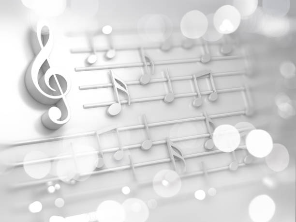Abstract white music background, musical notes and symbols for Christmas carol stock photo