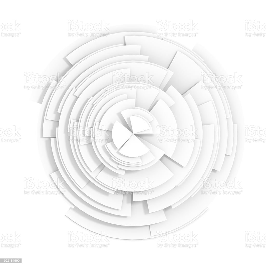 Abstract white pie chart stock photo