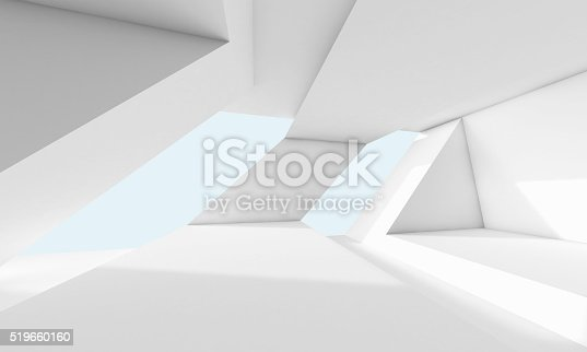 istock Abstract white room, 3d interior with windows 519660160