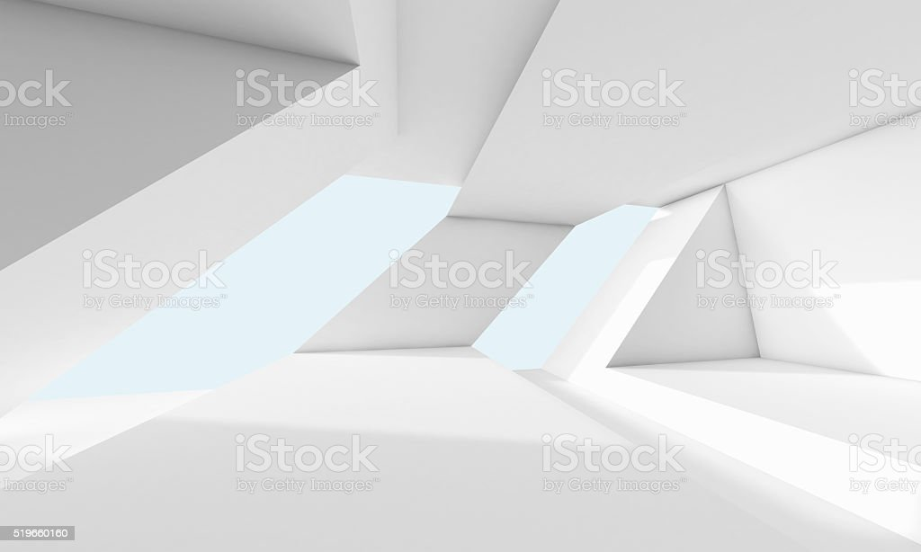 Abstrakte weiße Zimmer mit Fenster, 3d-Innenfutter – Foto