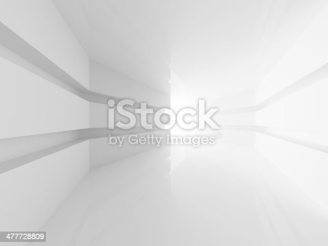 istock Abstract white room interior with glowing doorway. 3d render 477728809