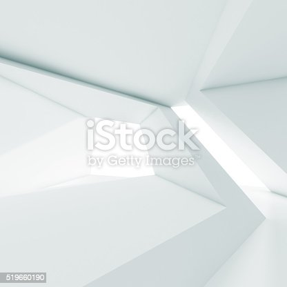 istock Abstract white room interior with windows 3 d 519660190