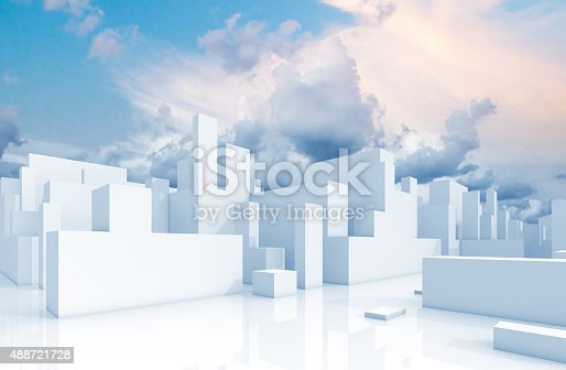 istock Abstract white schematic 3d cityscape and sky 488721728