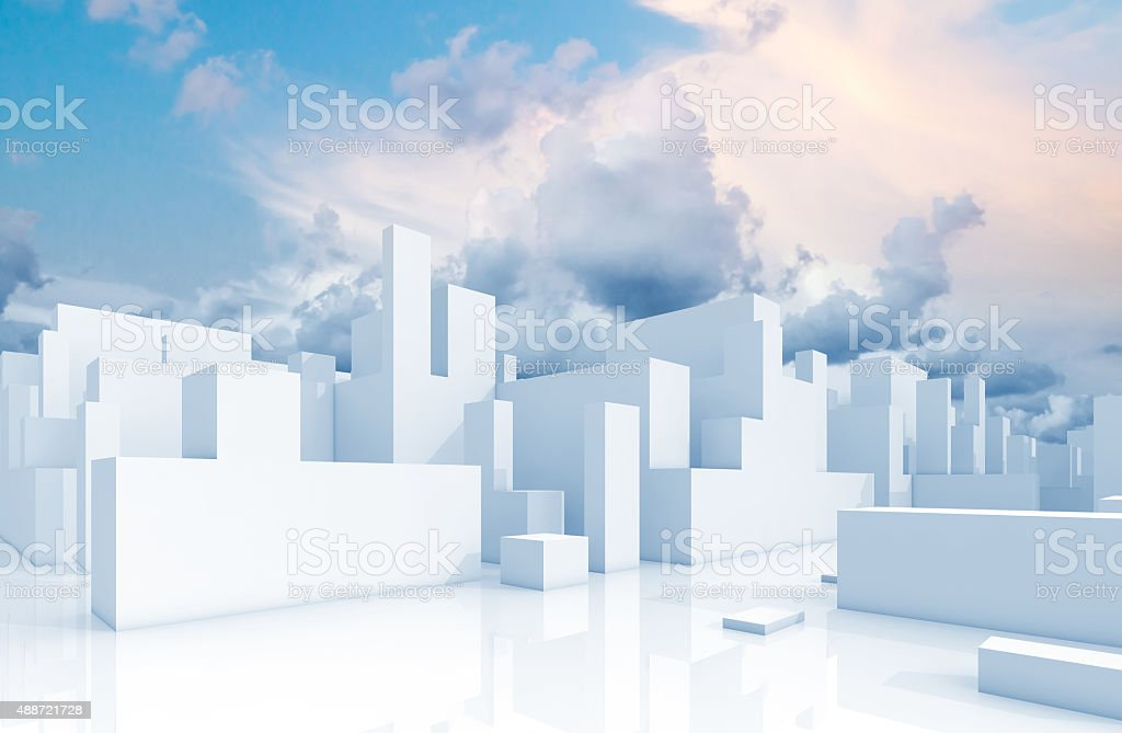 Abstract white schematic 3d cityscape and sky stock photo