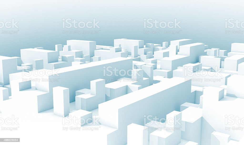 Abstract white schematic 3d cityscape, blue toned foto