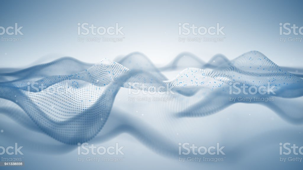 Abstract white sci-fi surface of particles 3D illustration royalty-free stock photo