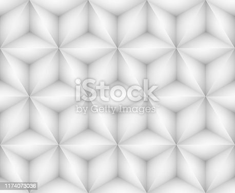927104724 istock photo Abstract white seamless background with triangles 1174073036