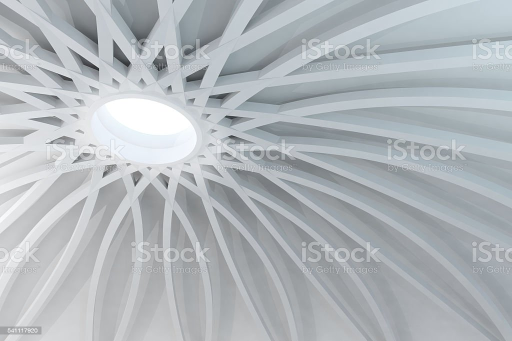 Abstract white structure with sunlight coming from dome hole stock photo