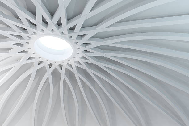 Abstract white structure with sunlight coming from dome hole Abstract white space covered by a circular dome sustained by a radial structure with arches. Sunlight illuminates the wide vaulted space coming from an hole in the middle of the cupola. White material gives the scene a modern and futuristic style. Abstract architecture and elegant engineering. Wideangle view. Copy space. arch architectural feature stock pictures, royalty-free photos & images