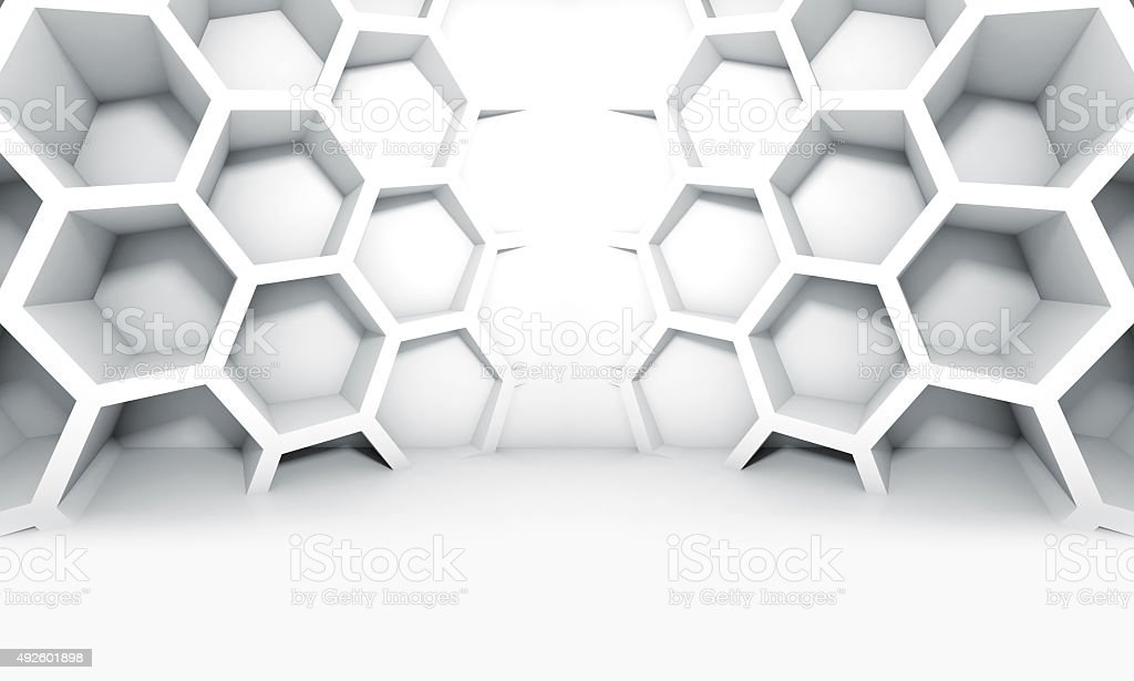 Abstract white symmetric interior with honeycomb stock photo