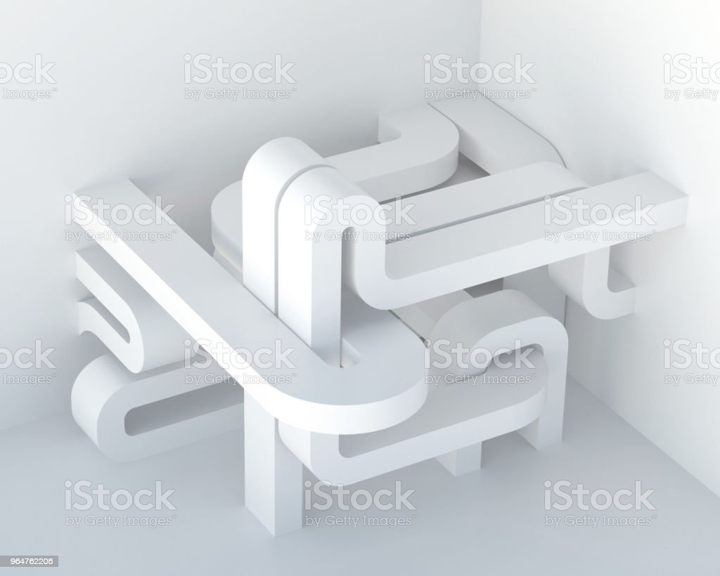 Abstract white three-dimensional architectural composition, background. Image and association: data transmission, pipeline, labyrinth, communications hub. Render. royalty-free stock photo